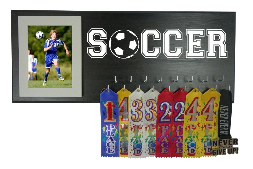 soccer player ribbon trophy award medal hanger holder display