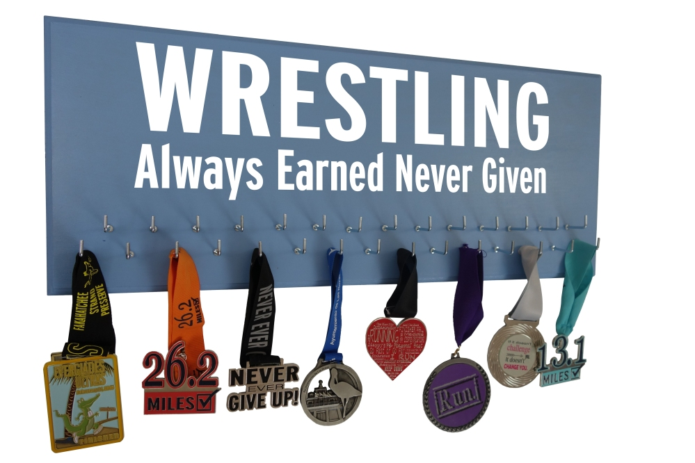 wrestling medal award ribbon hanger holder rack display