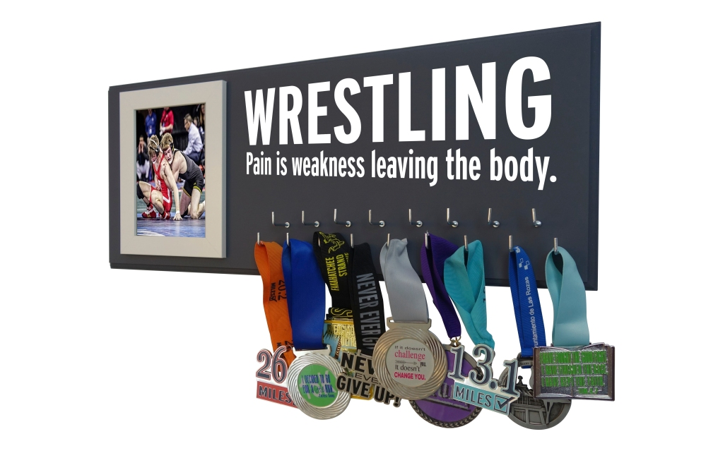 wrestling medal hanger holder display rack ribbon award