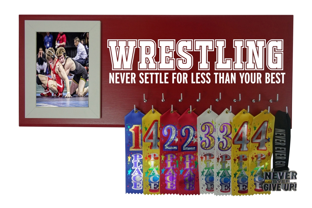 Wrestling medal holder hanger display award ribbon
